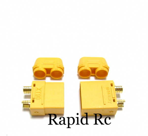Nylon XT90 Connectors Male / Female With End Cap (1 Set ) Yellow